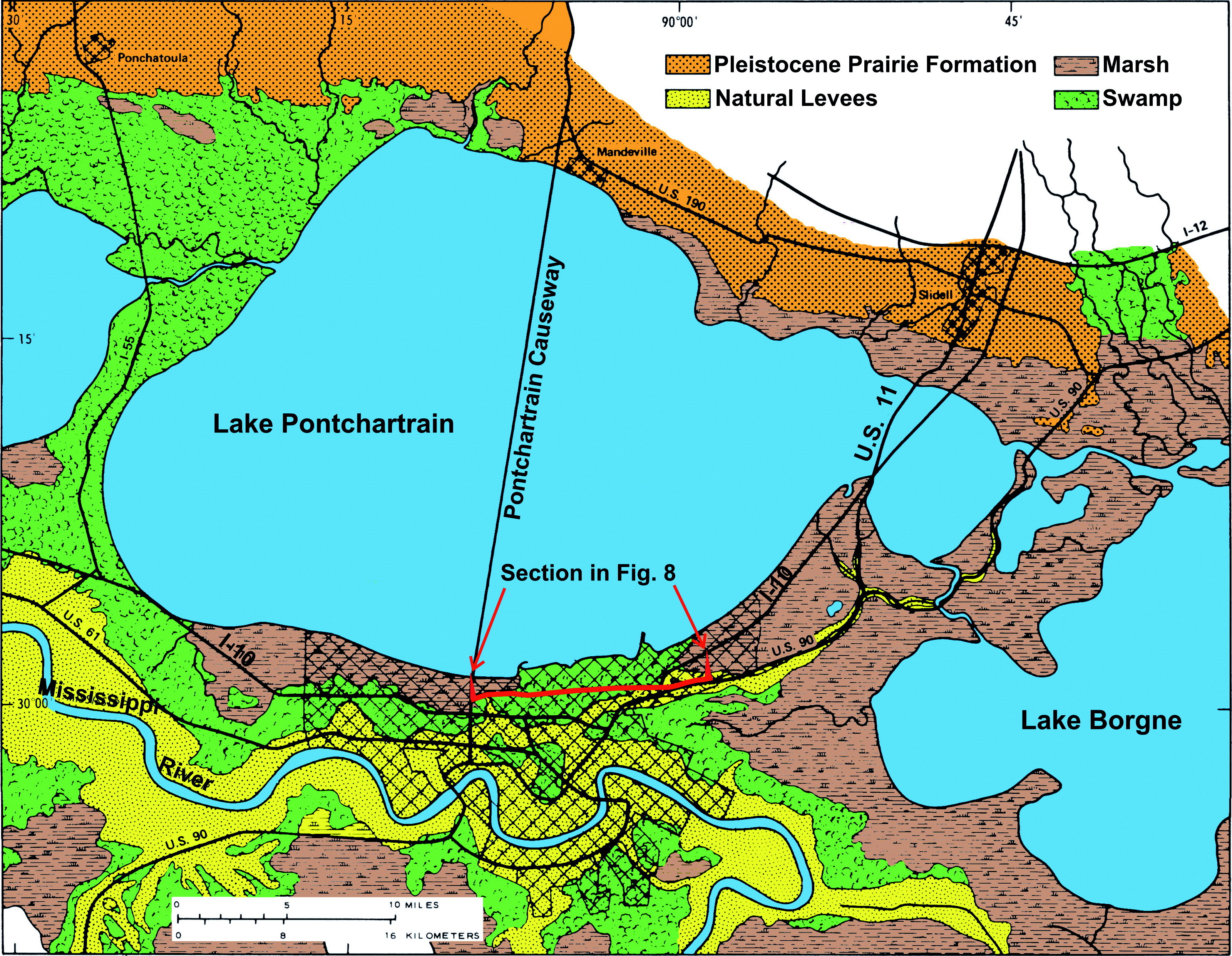 map of greater new orleans Geologic Conditions Underlying The 2005 17th Street Canal Levee map of greater new orleans