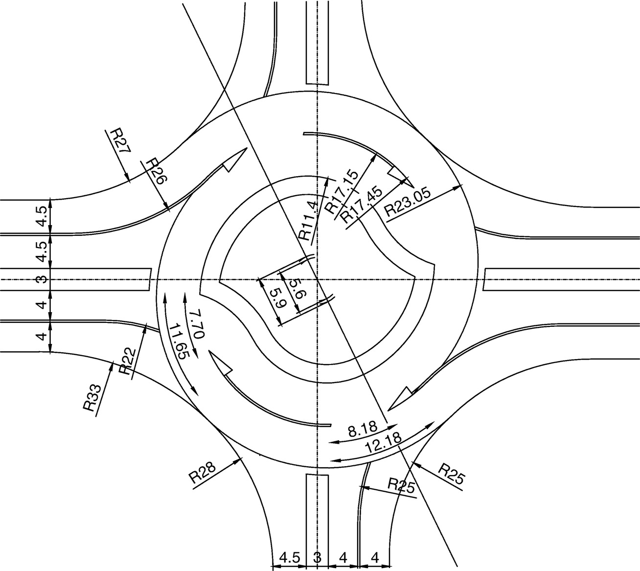 Design of Turbo Roundabouts Based on the Rules of Vehicle ... on 2002 ford explorer window diagram, ford explorer electrical diagram, 2005 ford explorer window fuse,