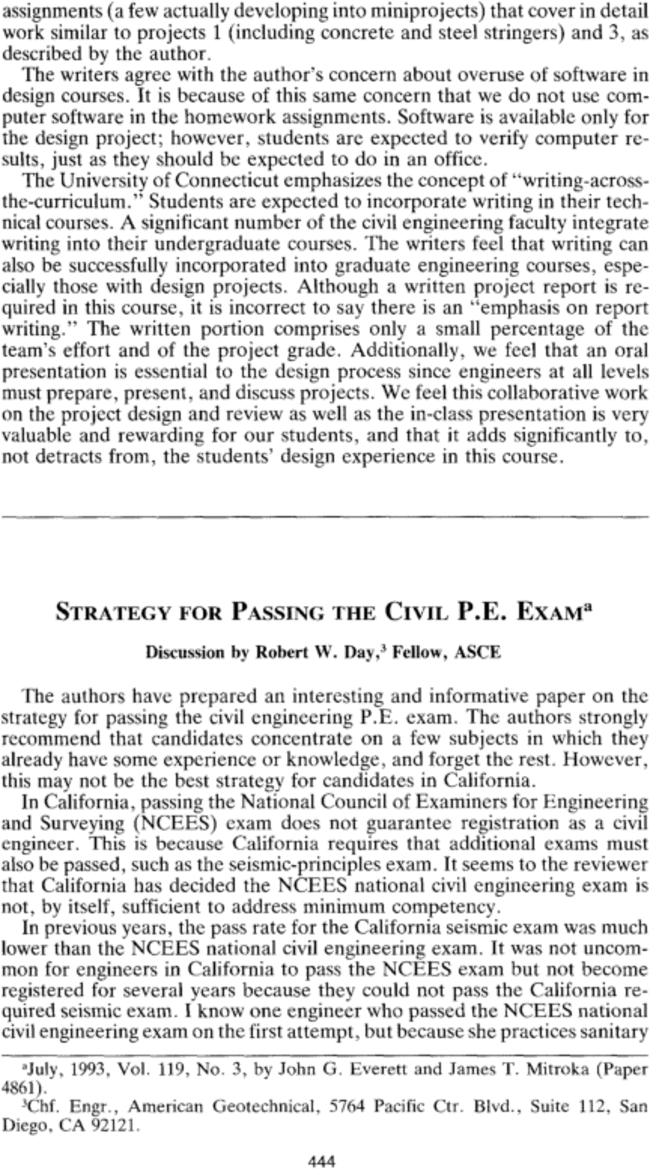 "Discussion of ""Strategy for Passing the Civil P E  Exam"" by"