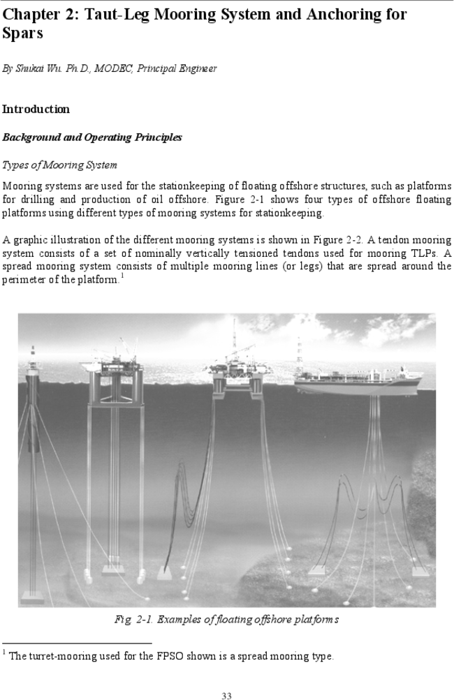 Taut-Leg Mooring System and Anchoring for Spars | Spar Platforms