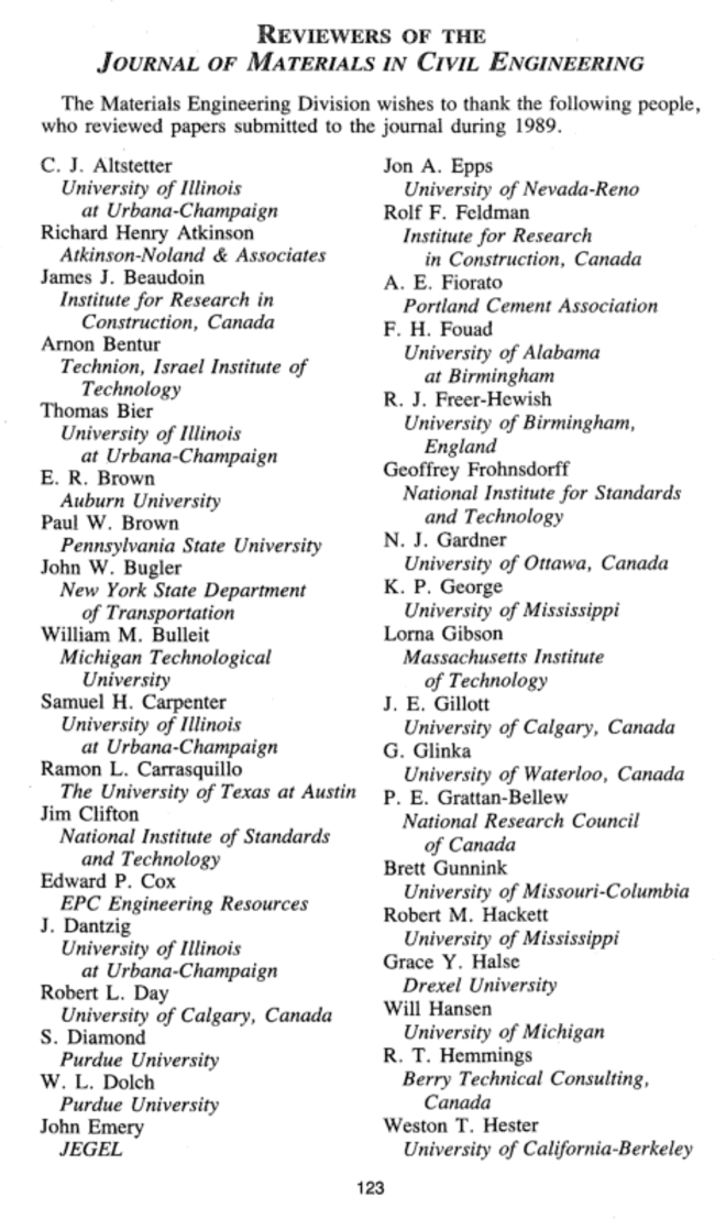 Reviewers of the <i>Journal of Materials in Civil