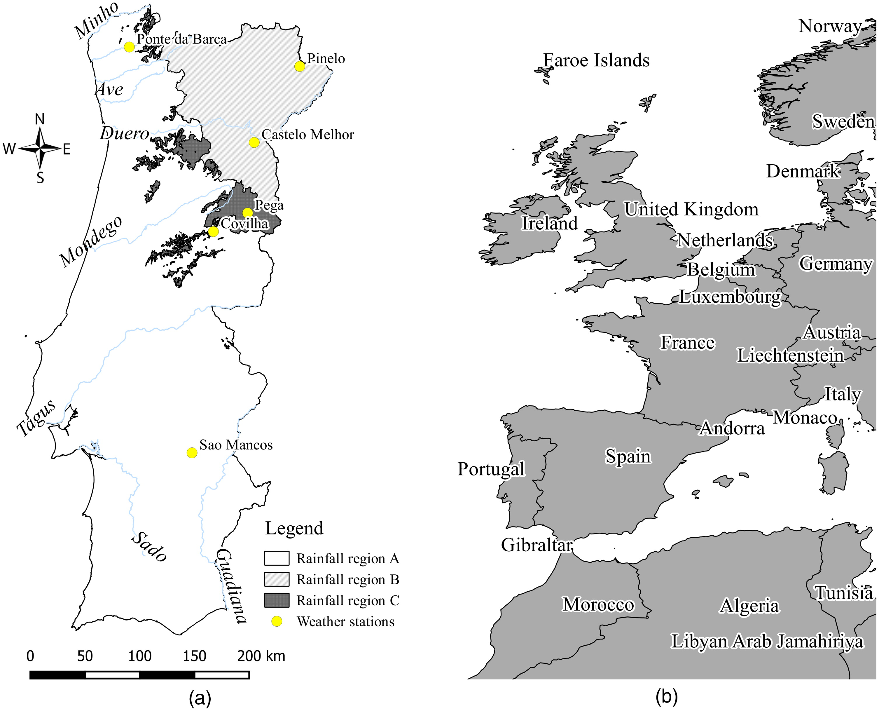 Climate Change Impacts In The Design Of Drainage Systems Case - Portugal rainfall map