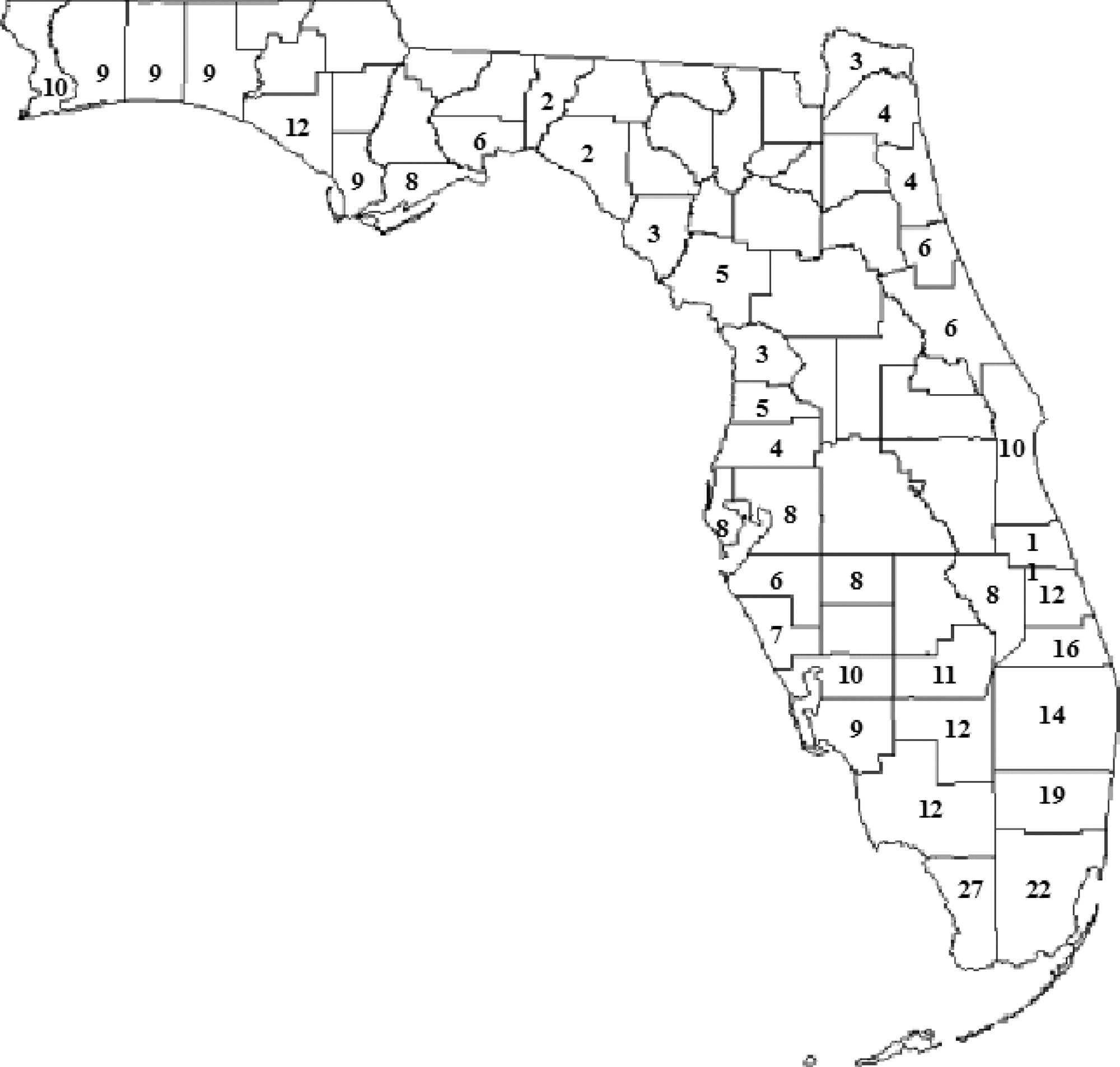 County Map Florida Reliability Based Modeling Of Bridge Deterioration Hazards