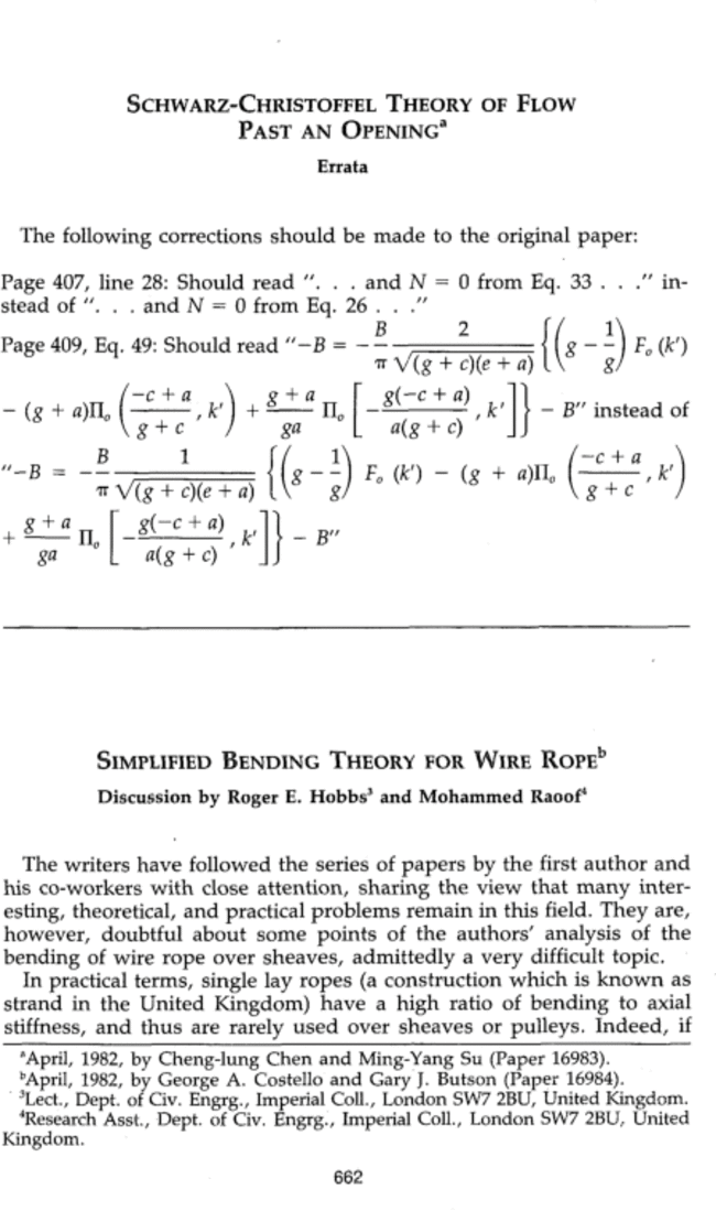"""Discussion of """"<i>Simplified Bending Theory for Wire Rope</i>"""" by ..."""