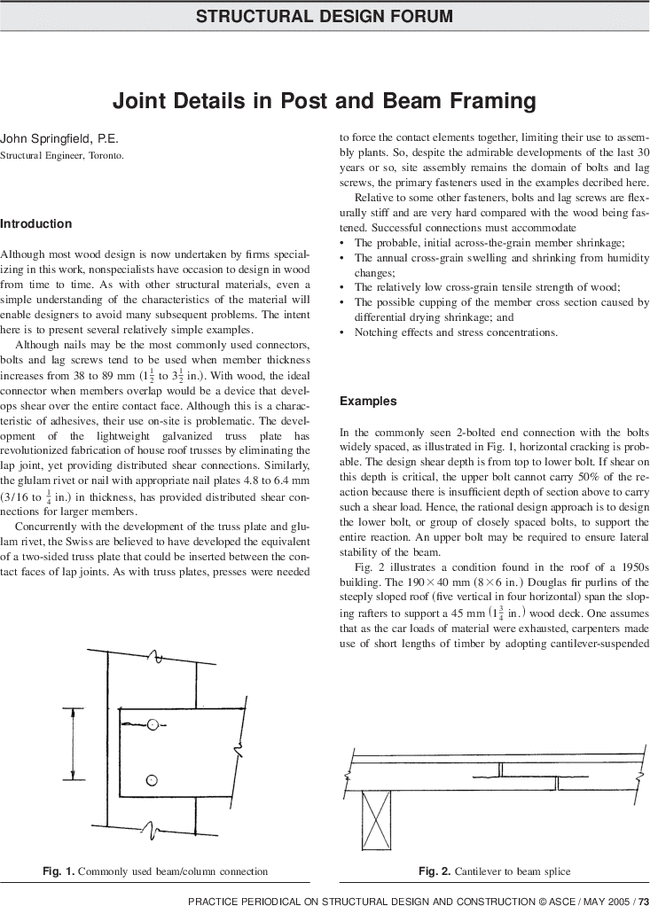 Joint Details in Post and Beam Framing | Practice Periodical on