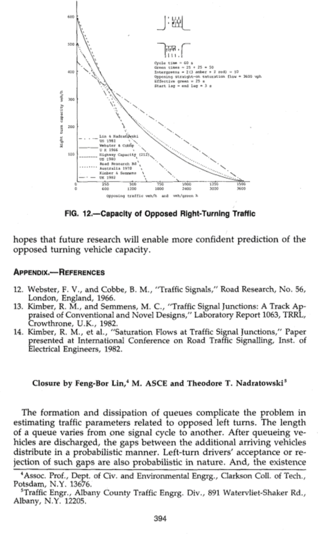 Closure To Iestimation Of Leftturn Traffic Parametersi By