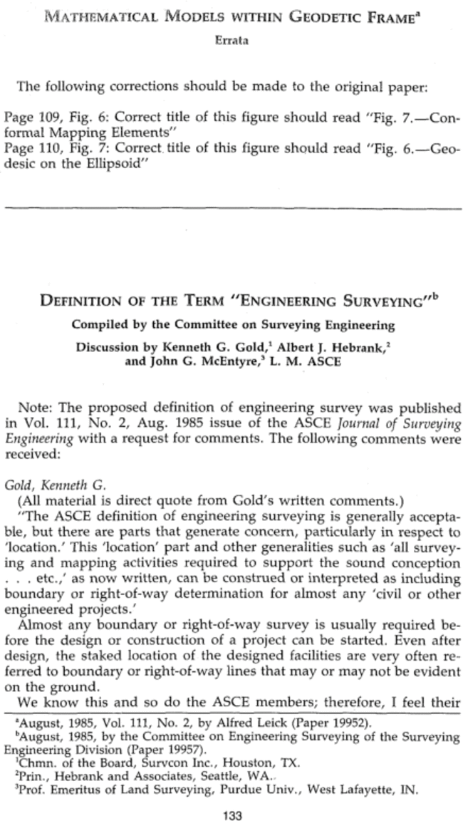"""Discussion of """"Definition of the Term """"Engineering Surveying"""