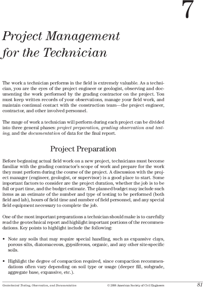 Project Management for the Technician | Geotechnical Testing