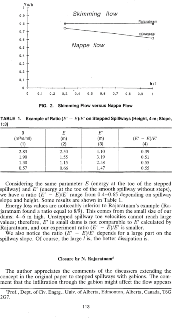 """Closure to """"Skimming Flow in Stepped Spillways"""" by N"""