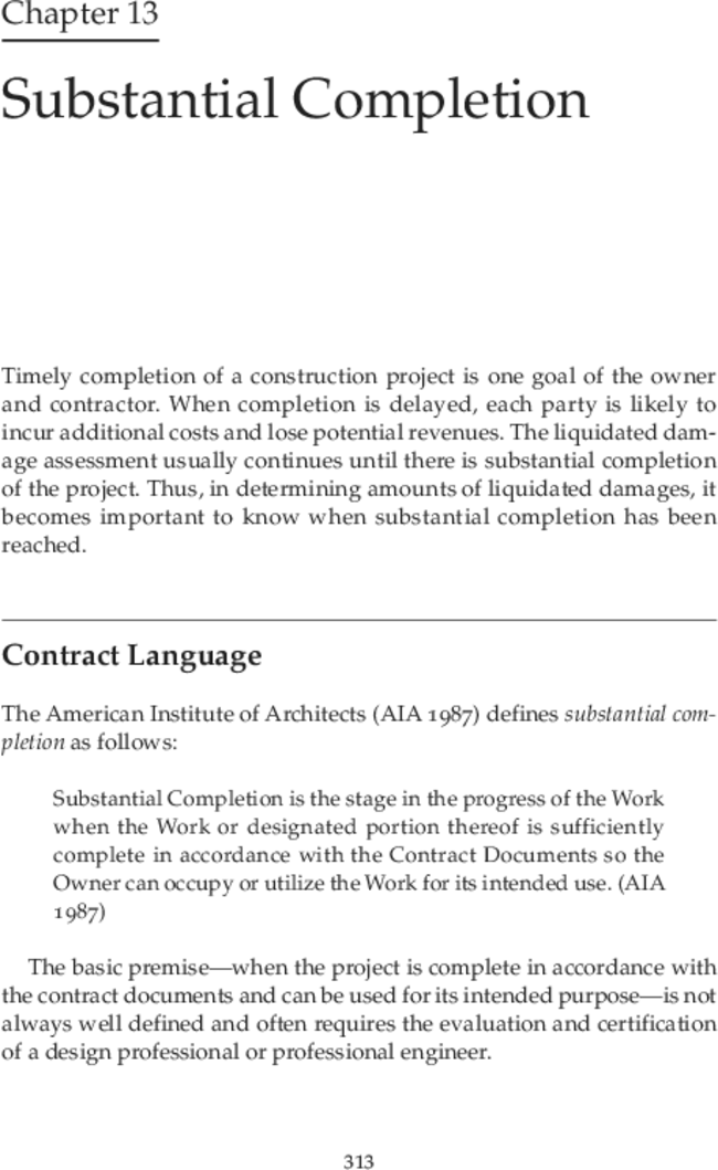 Substantial Completion Interpreting Construction Contracts