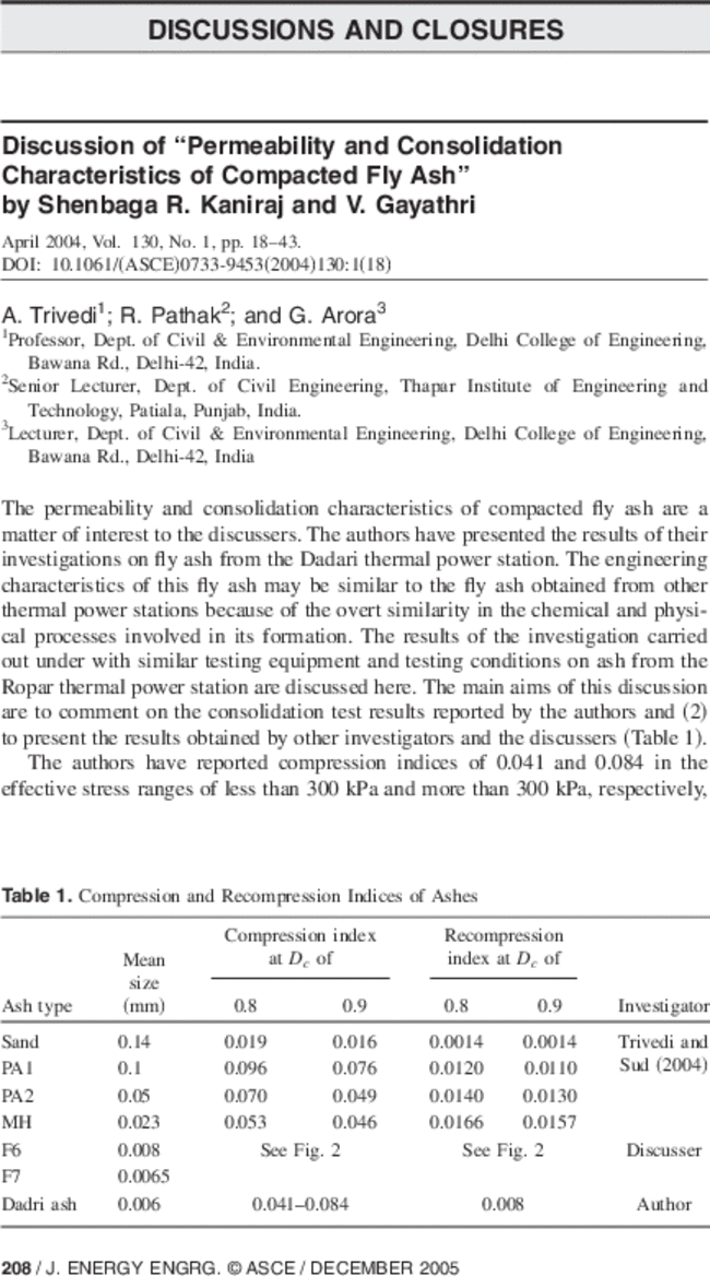 "Closure to ""Permeability and Consolidation Characteristics of"