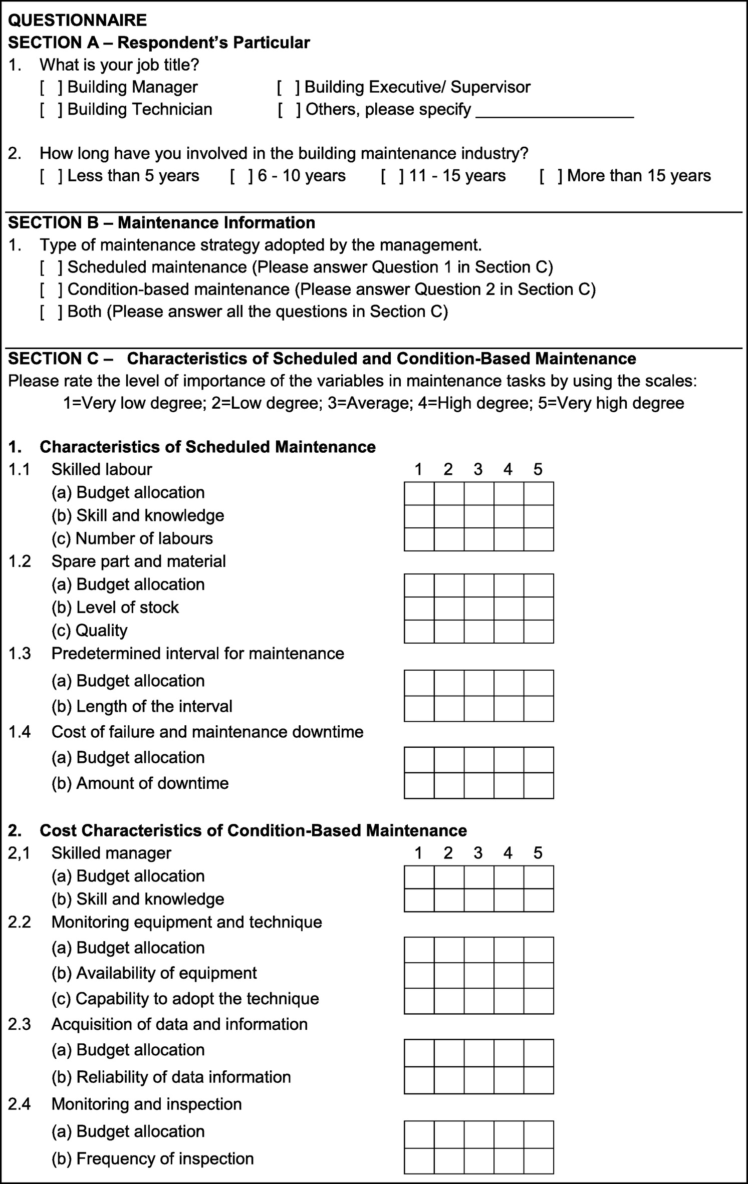 significant characteristics of scheduled and condition based significant characteristics of scheduled and condition based maintenance in office buildings journal of performance of constructed facilities vol 28