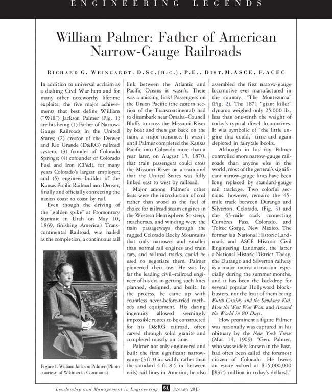 William Palmer: Father Of American Narrow-Gauge Railroads