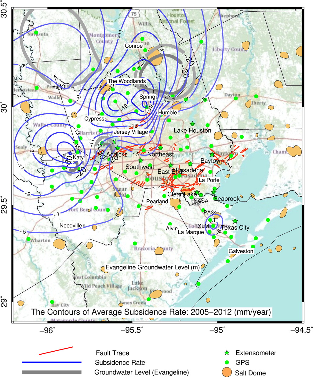 Current Land Subsidence And Groundwater Level Changes In The - Houston metro area map