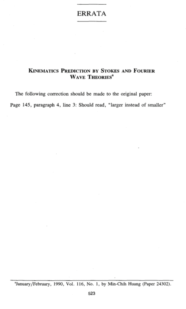 """Erratum: """"Kinematics Prediction by Stokes and Fourier Wave Theories"""
