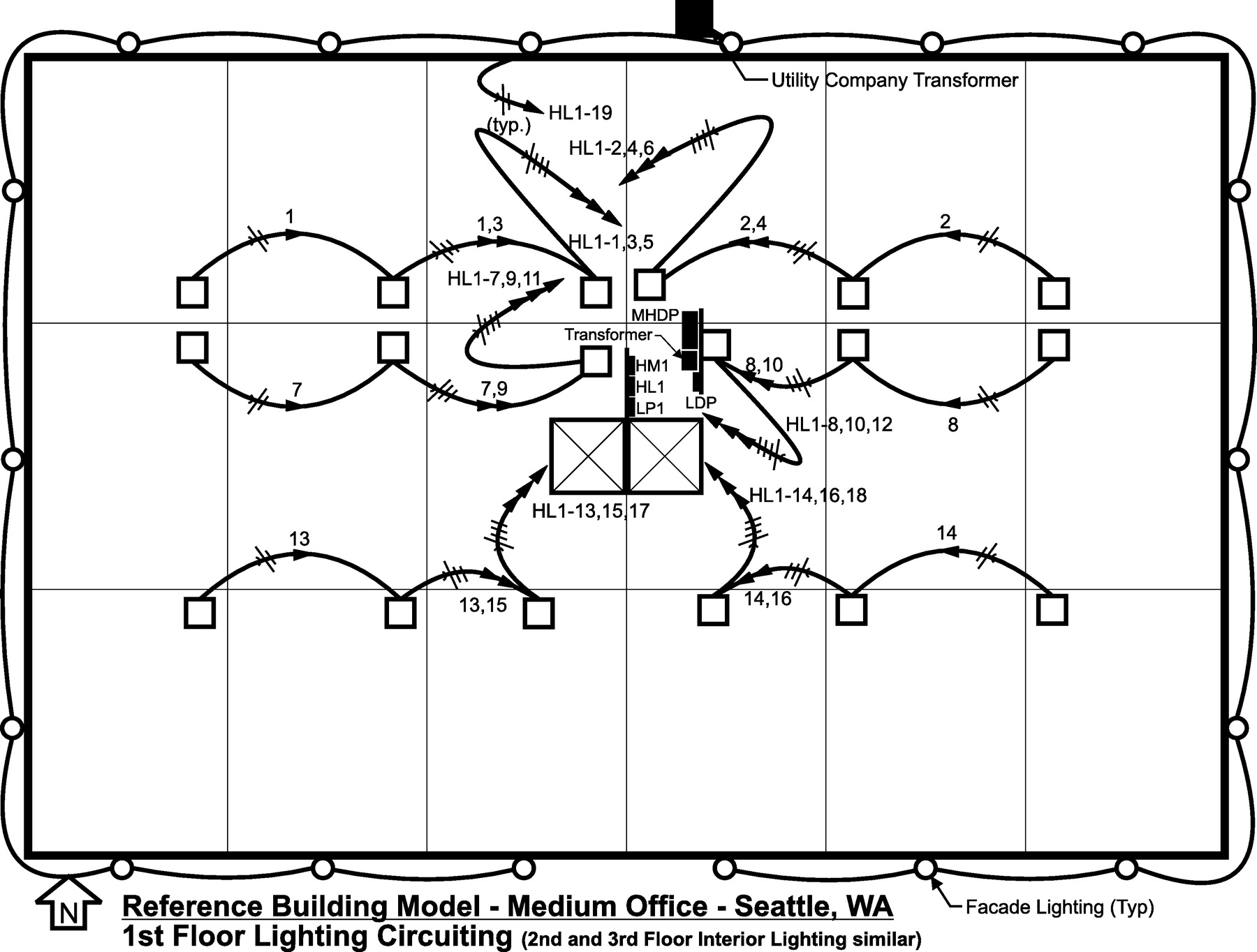 Electrical Distribution Systems For Commercial Reference Building Ceiling Fan Internal Wiring By Admin On March 2 2013 Models Journal Of Architectural Engineering Vol 20 No 1