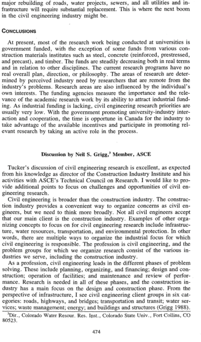 """Discussion of """"The Role of Civil Engineering Research"""" by"""