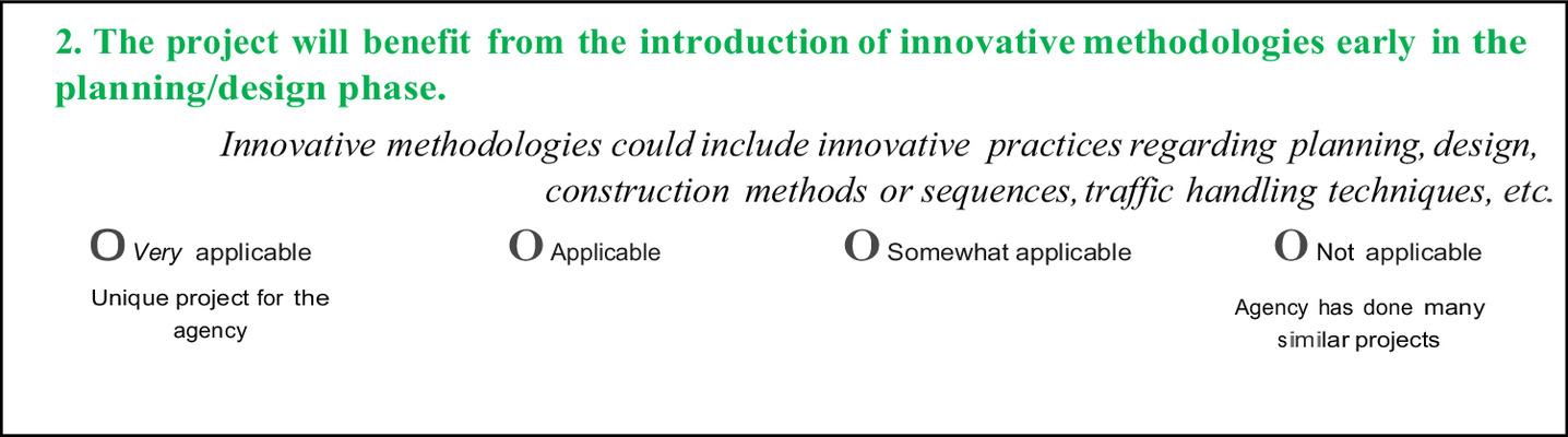 Innovations in Project Delivery Method Selection Approach in