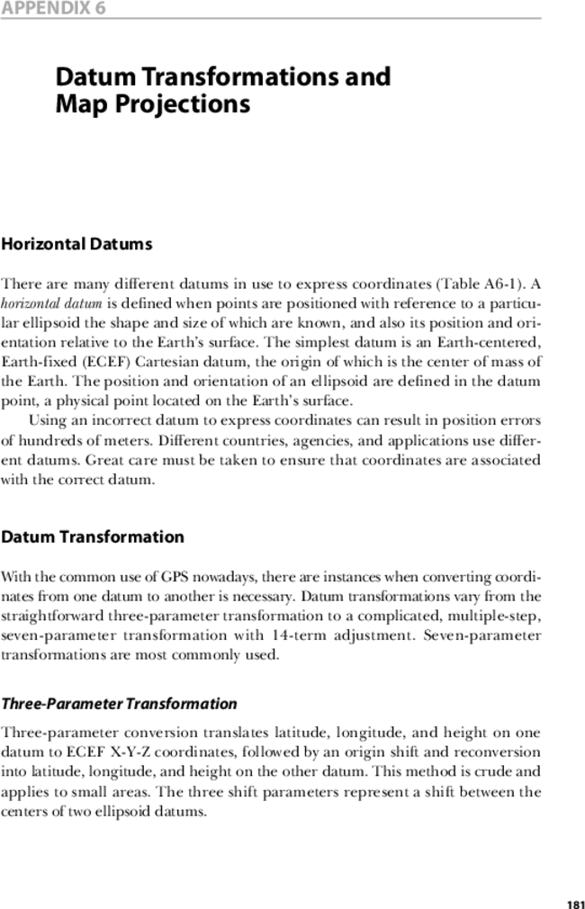 Datum Transformations and Map Projections | Applied GPS for